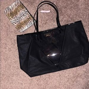 Victoria Secret sparkly Black Tote Bag